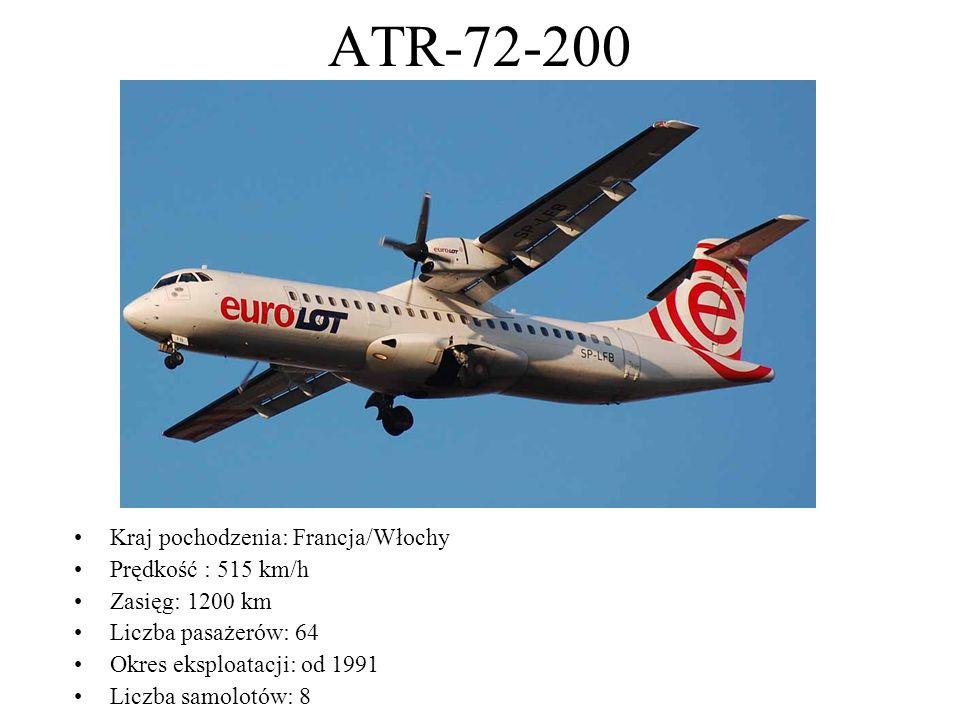 ATR-72-200 Kraj pochodzenia: Francja/Włochy Prędkość : 515 km/h