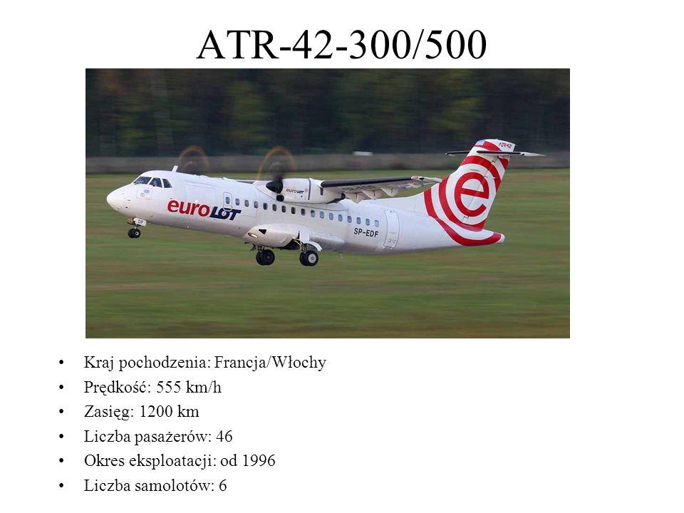 ATR-42-300/500 Kraj pochodzenia: Francja/Włochy Prędkość: 555 km/h