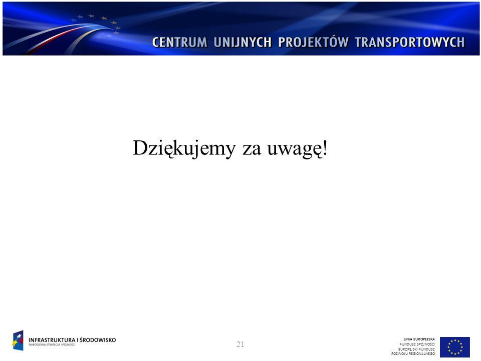 Dziękujemy za uwagę! UNIA EUROPEJSKA FUNDUSZ SPÓJNOŚCI