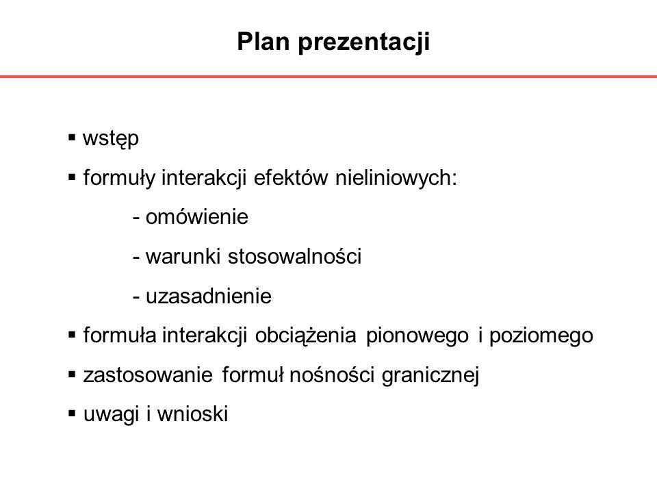 Plan prezentacji wstęp formuły interakcji efektów nieliniowych: