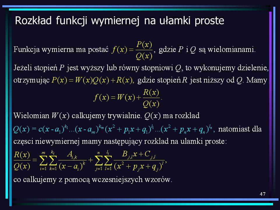 Rozkład funkcji wymiernej na ułamki proste