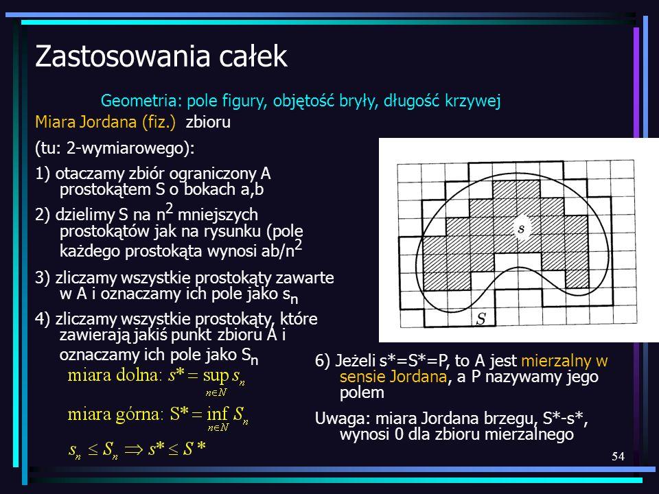 Zastosowania całek Geometria: pole figury, objętość bryły, długość krzywej. Miara Jordana (fiz.) zbioru.