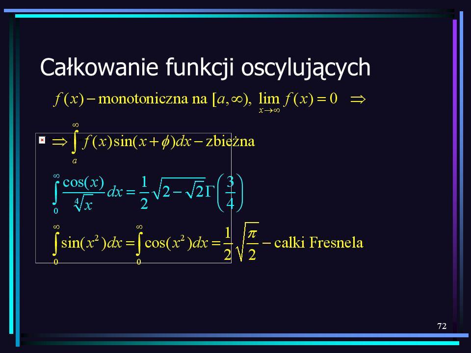 Całkowanie funkcji oscylujących