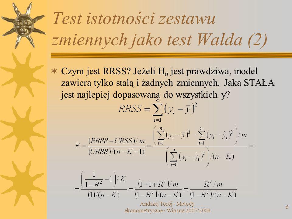 Test istotności zestawu zmiennych jako test Walda (2)