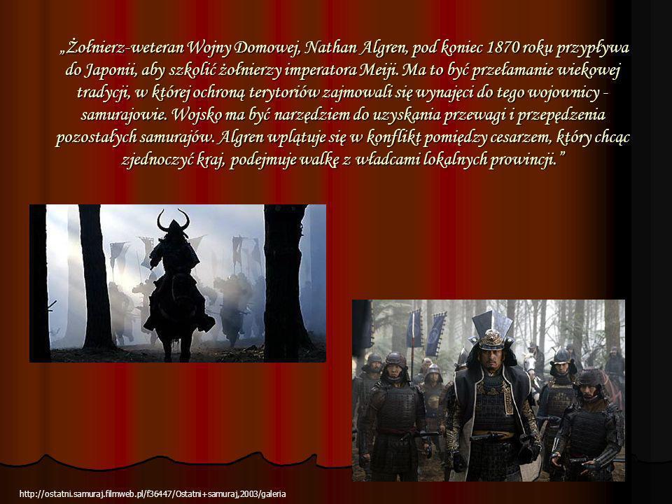 """""""Żołnierz-weteran Wojny Domowej, Nathan Algren, pod koniec 1870 roku przypływa do Japonii, aby szkolić żołnierzy imperatora Meiji. Ma to być przełamanie wiekowej tradycji, w której ochroną terytoriów zajmowali się wynajęci do tego wojownicy - samurajowie. Wojsko ma być narzędziem do uzyskania przewagi i przepędzenia pozostałych samurajów. Algren wplątuje się w konflikt pomiędzy cesarzem, który chcąc zjednoczyć kraj, podejmuje walkę z władcami lokalnych prowincji."""