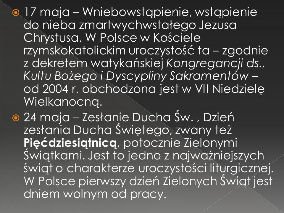 17 maja – Wniebowstąpienie, wstąpienie do nieba zmartwychwstałego Jezusa Chrystusa. W Polsce w Kościele rzymskokatolickim uroczystość ta – zgodnie z dekretem watykańskiej Kongregancji ds.. Kultu Bożego i Dyscypliny Sakramentów – od 2004 r. obchodzona jest w VII Niedzielę Wielkanocną.
