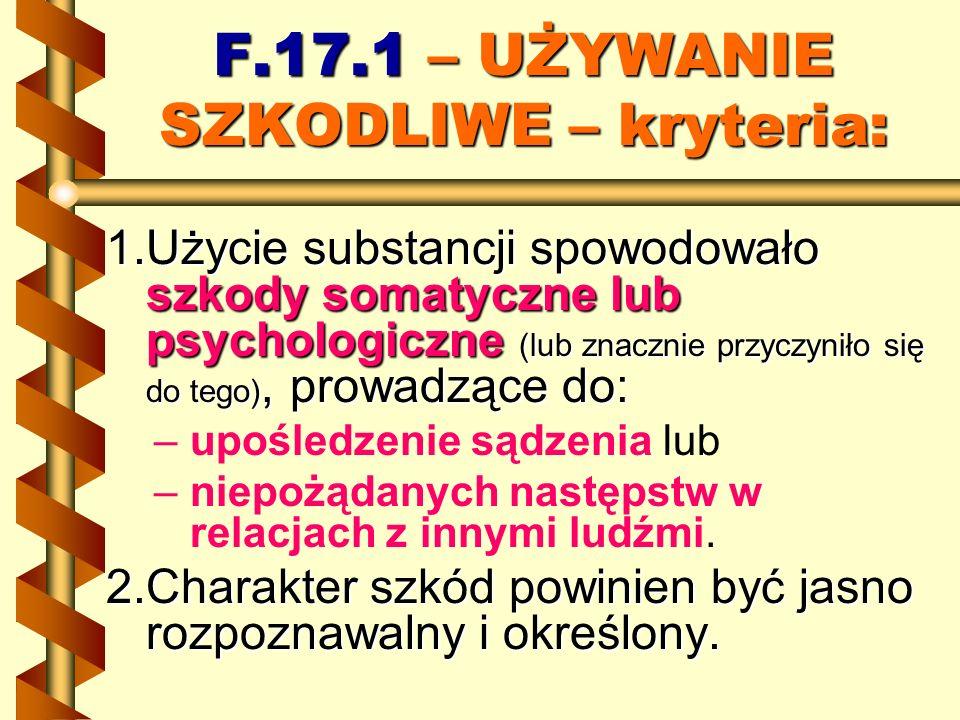F.17.1 – UŻYWANIE SZKODLIWE – kryteria: