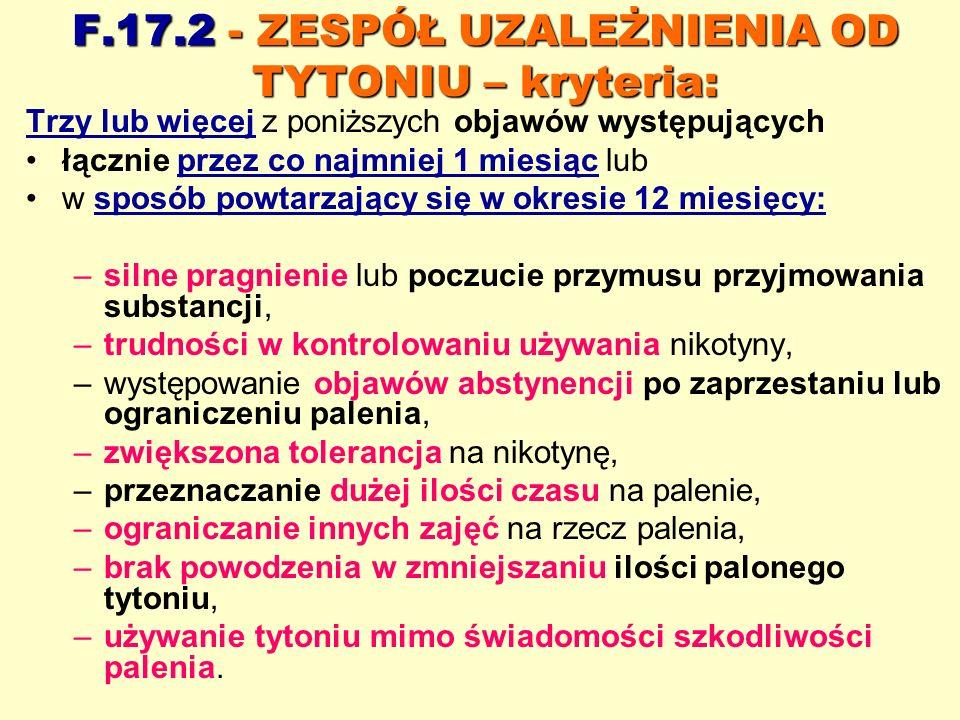 F.17.2 - ZESPÓŁ UZALEŻNIENIA OD TYTONIU – kryteria: