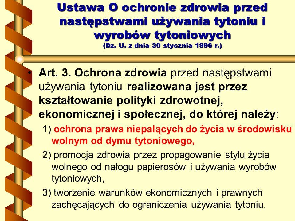 Ustawa O ochronie zdrowia przed następstwami używania tytoniu i wyrobów tytoniowych (Dz. U. z dnia 30 stycznia 1996 r.)