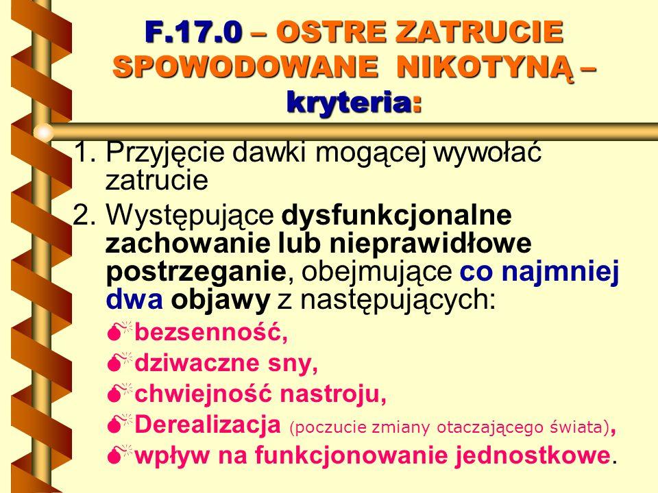 F.17.0 – OSTRE ZATRUCIE SPOWODOWANE NIKOTYNĄ – kryteria: