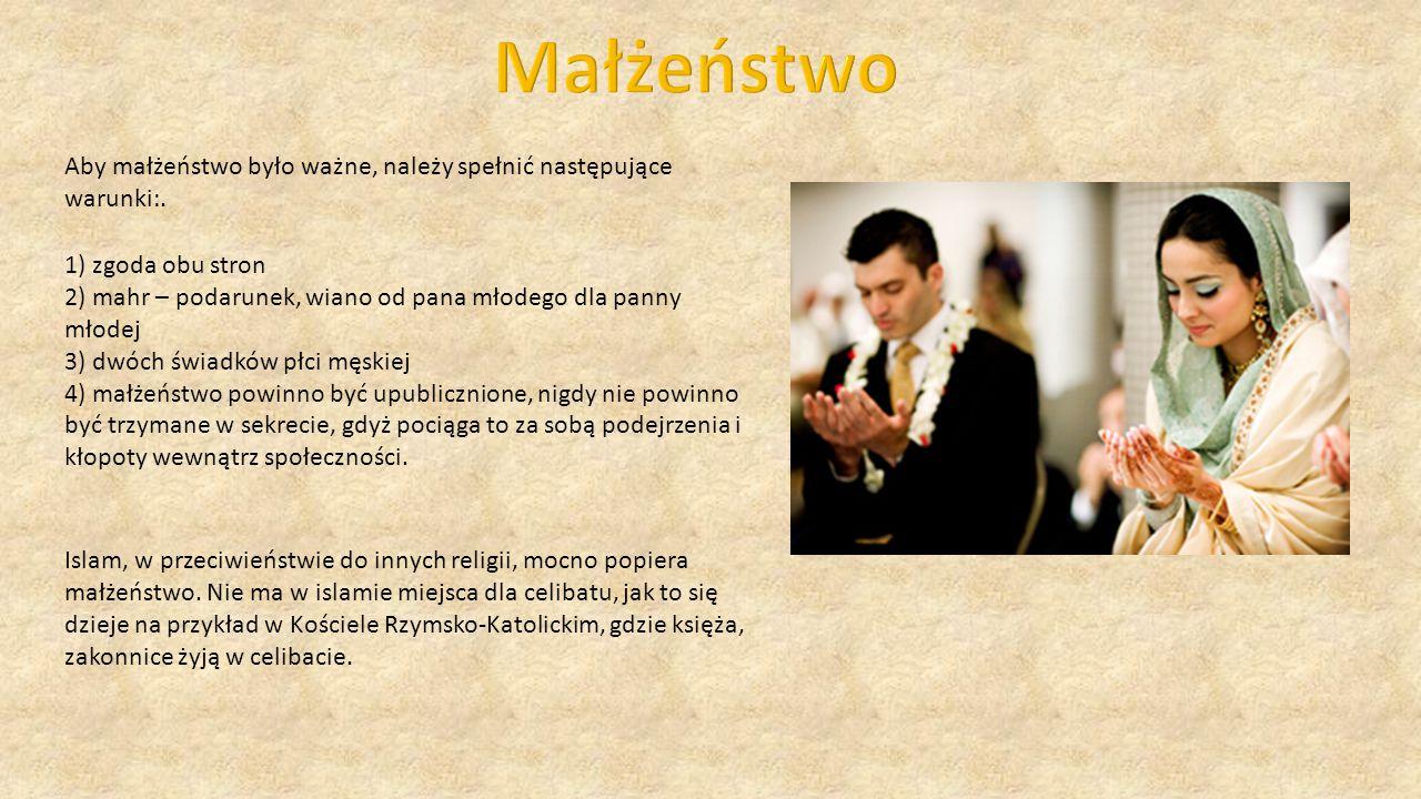 Małżeństwo Aby małżeństwo było ważne, należy spełnić następujące warunki:. 1) zgoda obu stron.