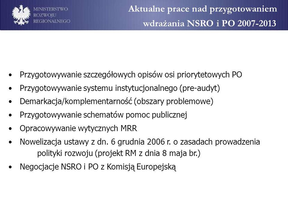 Aktualne prace nad przygotowaniem wdrażania NSRO i PO 2007-2013
