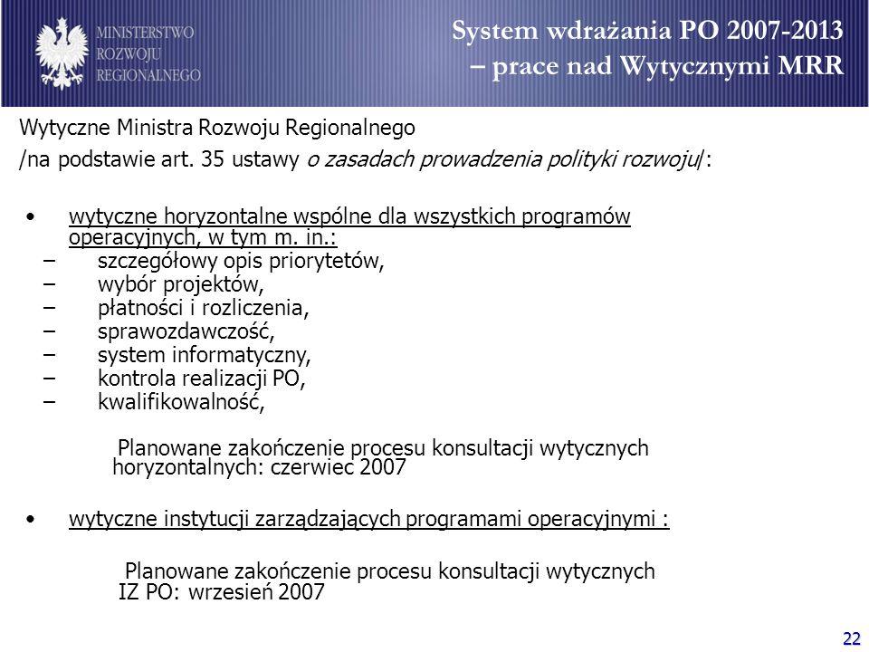 System wdrażania PO 2007-2013 – prace nad Wytycznymi MRR