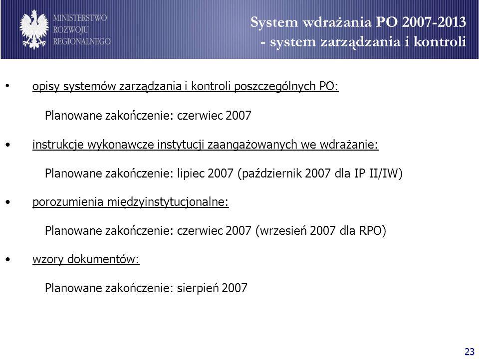System wdrażania PO 2007-2013 - system zarządzania i kontroli