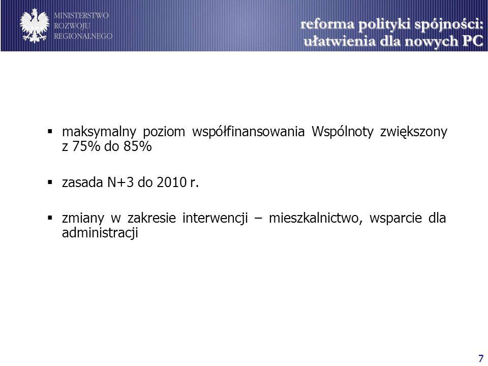 reforma polityki spójności: ułatwienia dla nowych PC