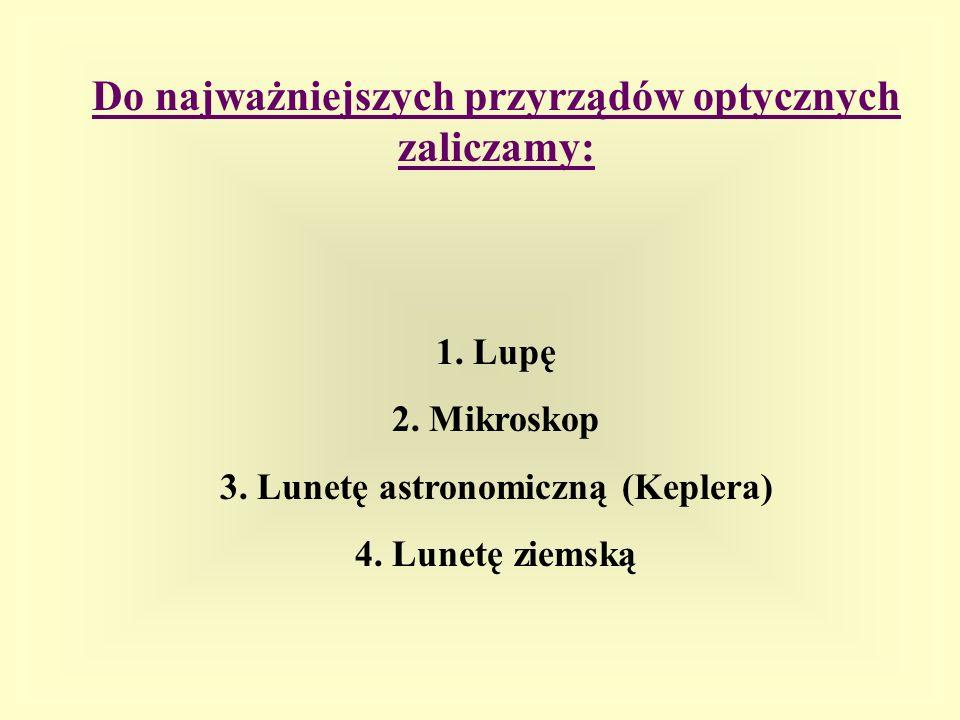 3. Lunetę astronomiczną (Keplera)