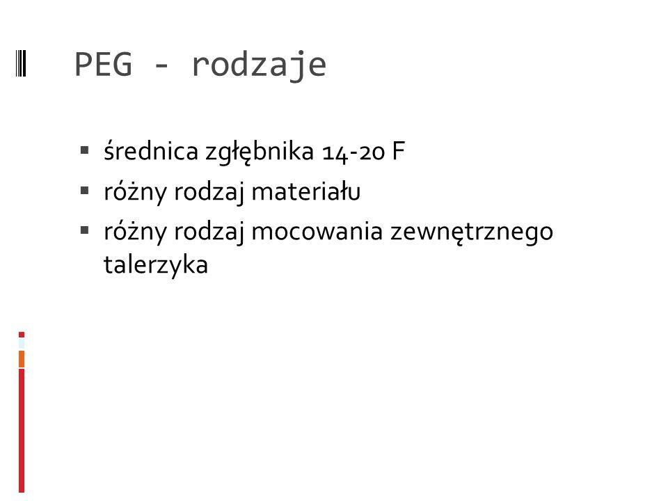 PEG - rodzaje średnica zgłębnika 14-20 F różny rodzaj materiału