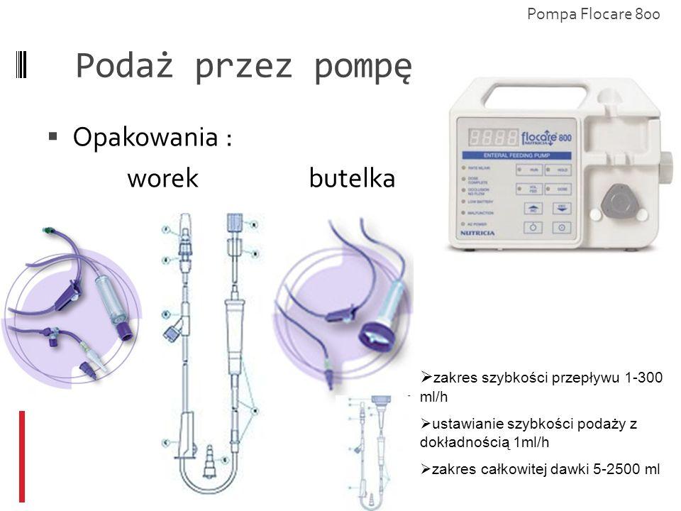Podaż przez pompę Opakowania : worek butelka Pompa Flocare 800