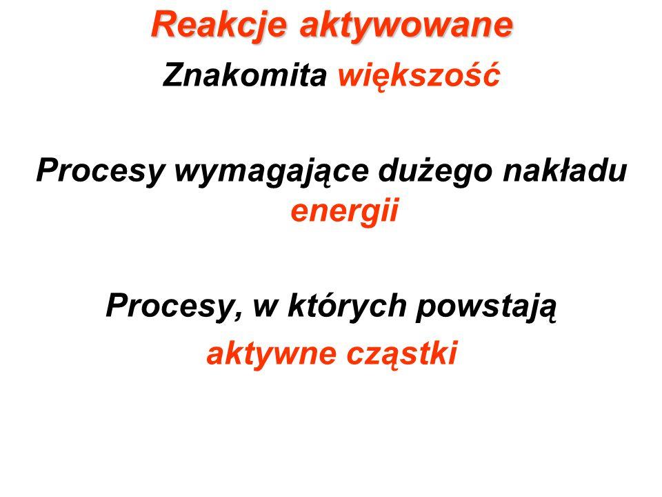 Procesy wymagające dużego nakładu energii Procesy, w których powstają