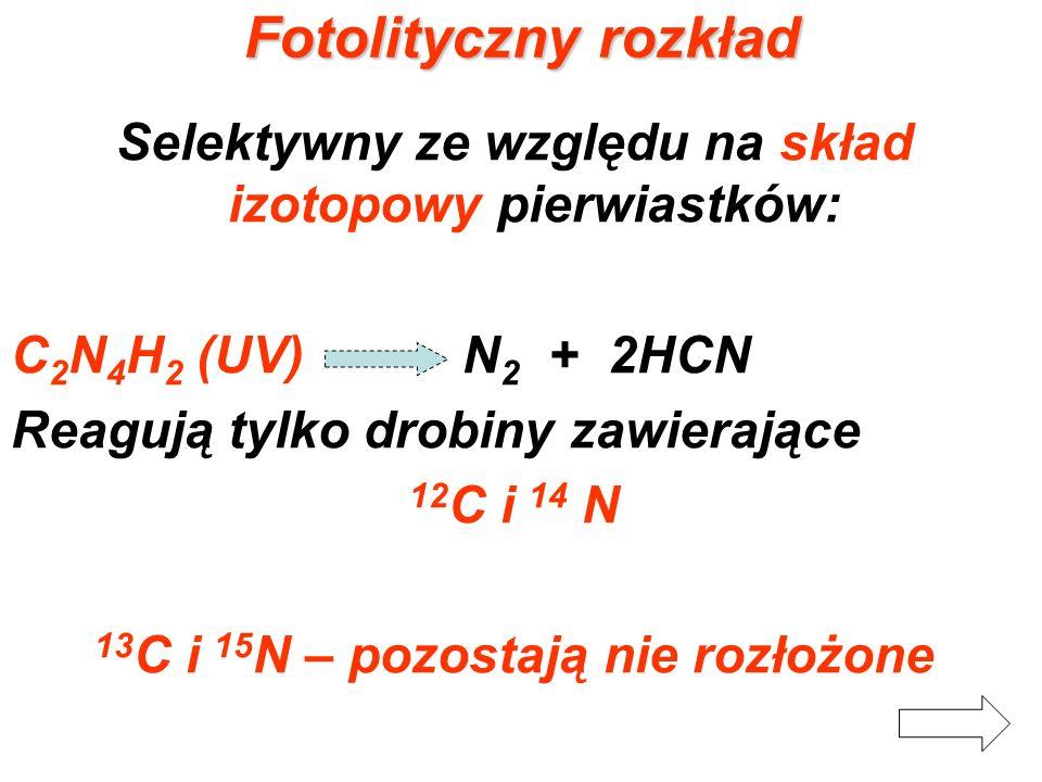 Fotolityczny rozkład Selektywny ze względu na skład izotopowy pierwiastków: C2N4H2 (UV) N2 + 2HCN.
