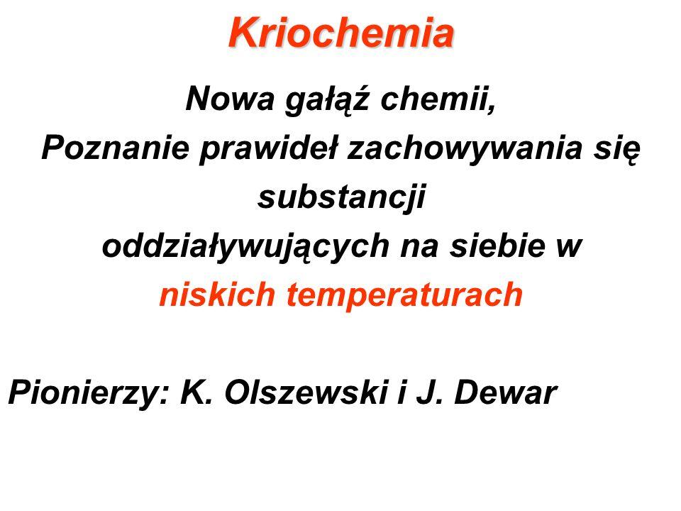 Kriochemia Nowa gałąź chemii, Poznanie prawideł zachowywania się