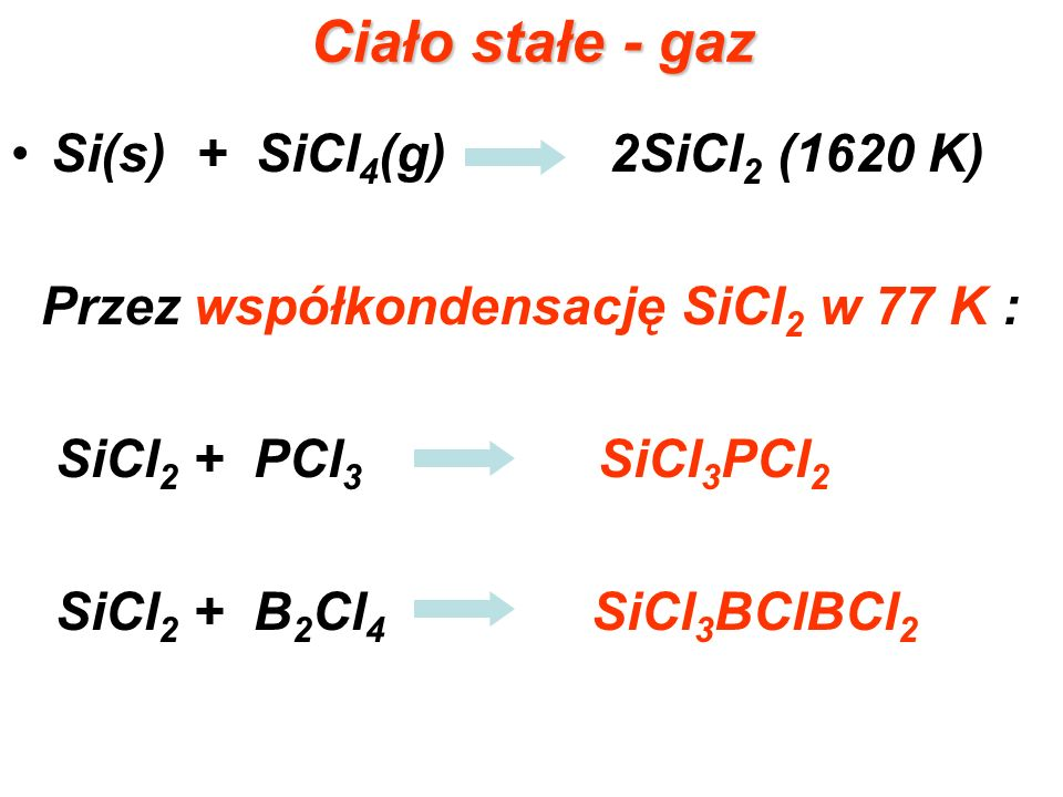 Ciało stałe - gaz Si(s) + SiCl4(g) 2SiCl2 (1620 K)