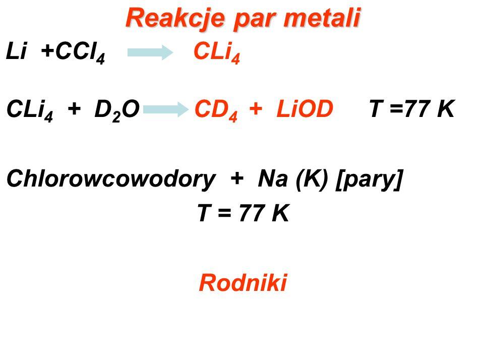 Reakcje par metali Li +CCl4 CLi4 CLi4 + D2O CD4 + LiOD T =77 K