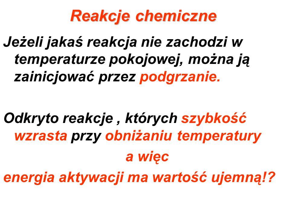 Reakcje chemiczne Jeżeli jakaś reakcja nie zachodzi w temperaturze pokojowej, można ją zainicjować przez podgrzanie.