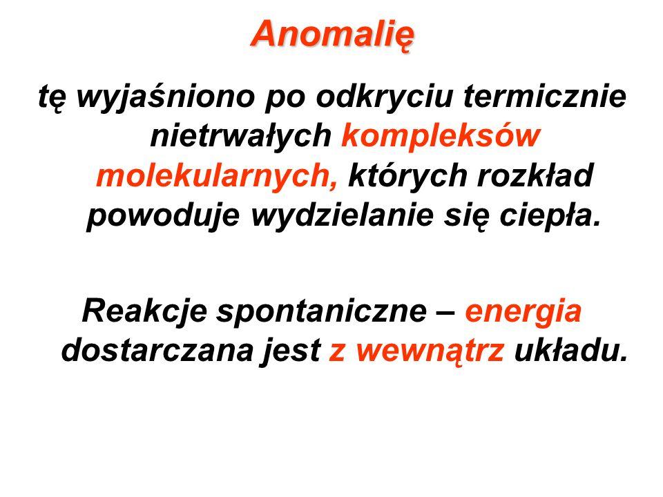 Reakcje spontaniczne – energia dostarczana jest z wewnątrz układu.