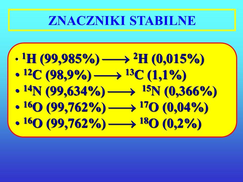 ZNACZNIKI STABILNE 12C (98,9%)  13C (1,1%)
