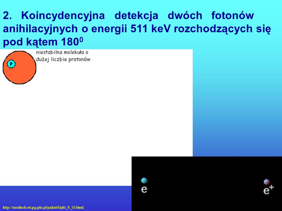 2. Koincydencyjna detekcja dwóch fotonów anihilacyjnych o energii 511 keV rozchodzących się pod kątem 1800