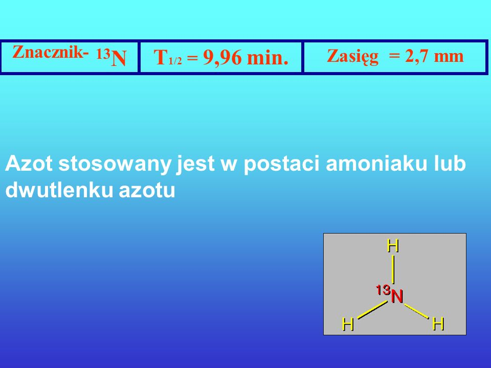 Znacznik- 13N T1/2 = 9,96 min. Zasięg = 2,7 mm.