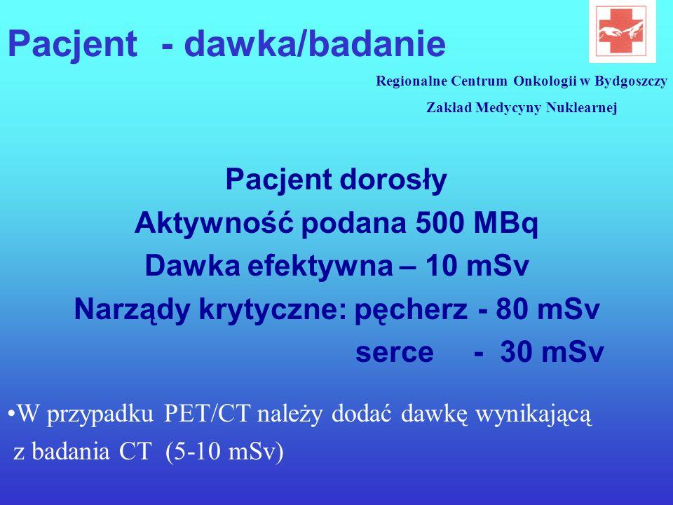 Pacjent - dawka/badanie