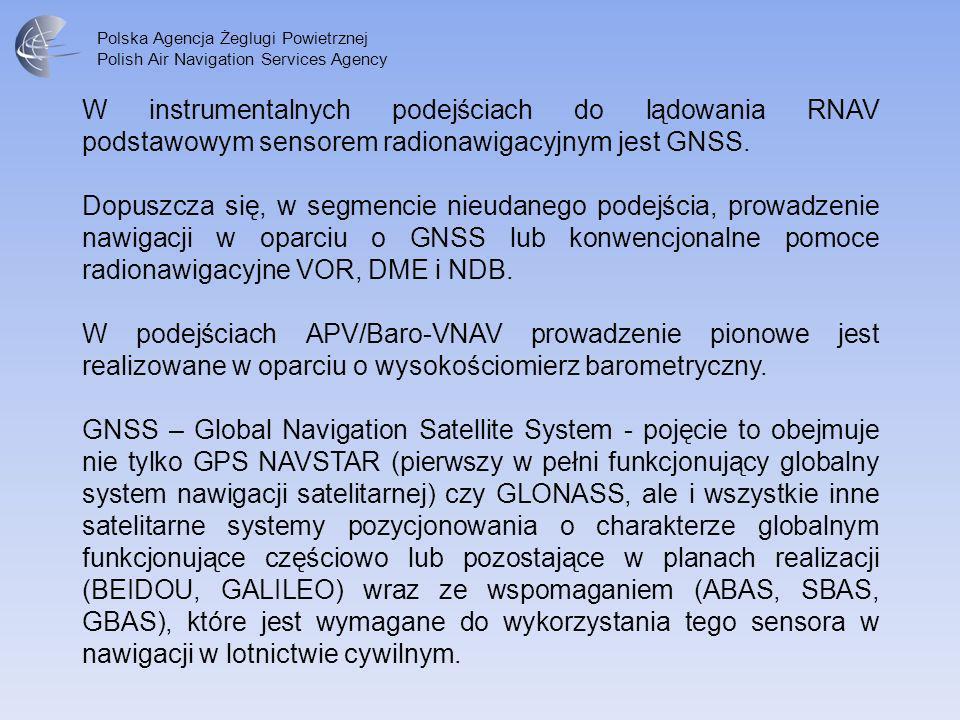 W instrumentalnych podejściach do lądowania RNAV podstawowym sensorem radionawigacyjnym jest GNSS.