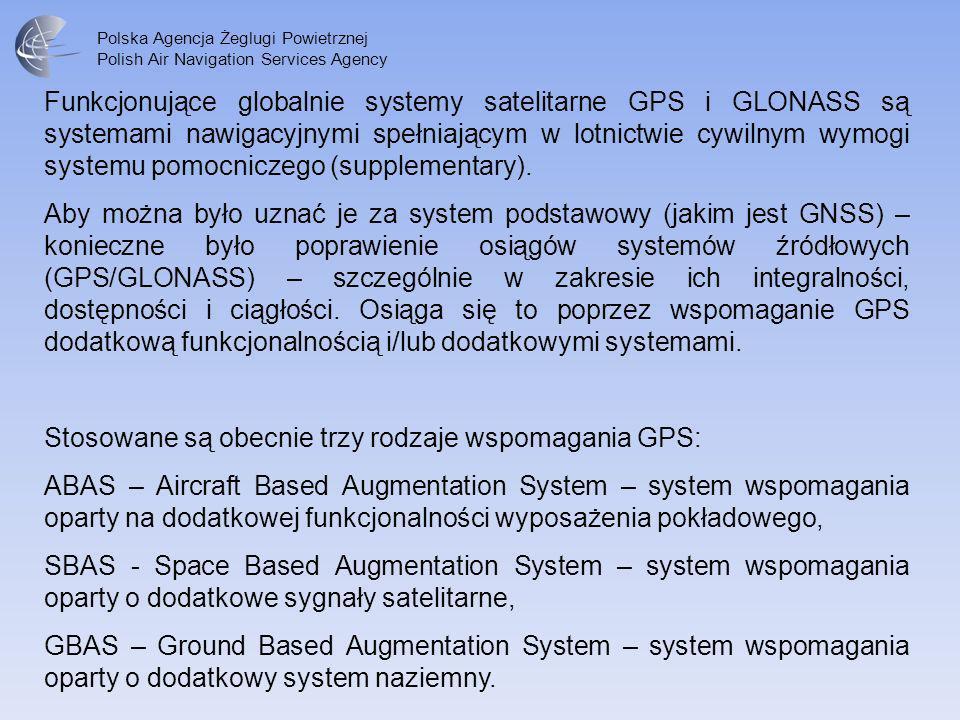 Funkcjonujące globalnie systemy satelitarne GPS i GLONASS są systemami nawigacyjnymi spełniającym w lotnictwie cywilnym wymogi systemu pomocniczego (supplementary).