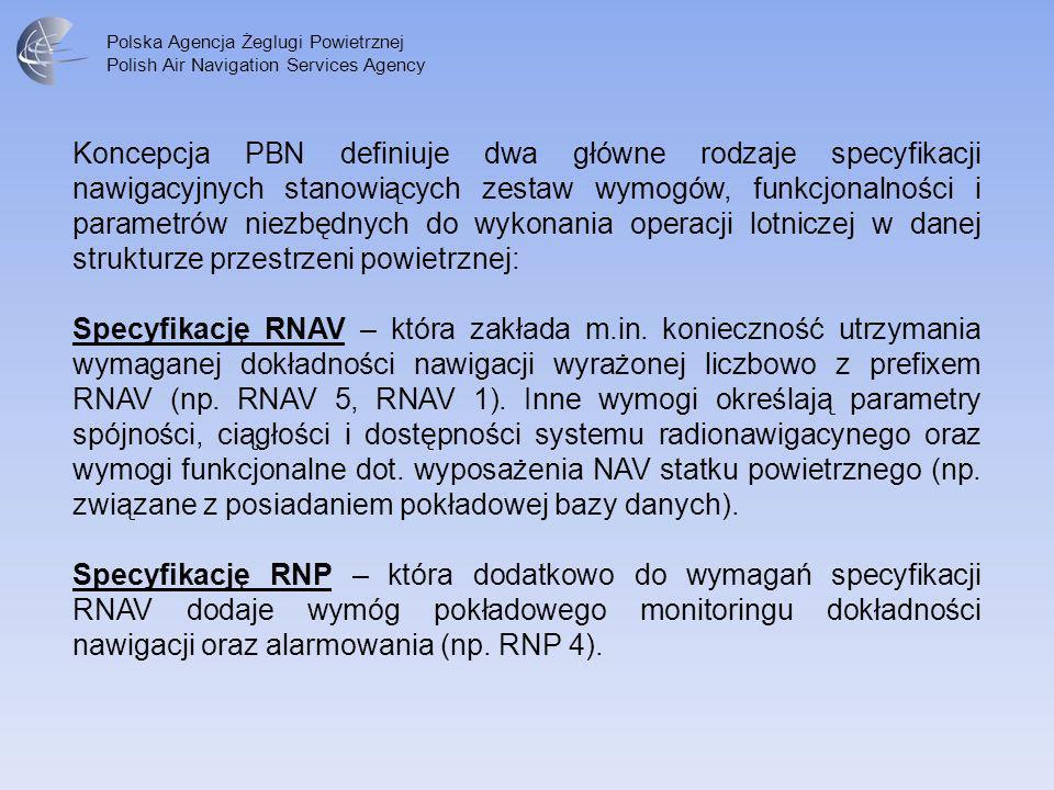 Koncepcja PBN definiuje dwa główne rodzaje specyfikacji nawigacyjnych stanowiących zestaw wymogów, funkcjonalności i parametrów niezbędnych do wykonania operacji lotniczej w danej strukturze przestrzeni powietrznej: