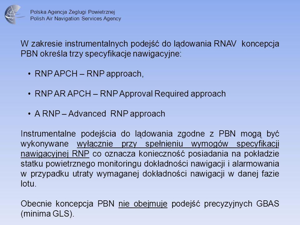 W zakresie instrumentalnych podejść do lądowania RNAV koncepcja PBN określa trzy specyfikacje nawigacyjne: