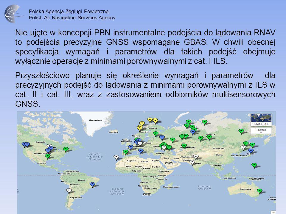 Nie ujęte w koncepcji PBN instrumentalne podejścia do lądowania RNAV to podejścia precyzyjne GNSS wspomagane GBAS. W chwili obecnej specyfikacja wymagań i parametrów dla takich podejść obejmuje wyłącznie operacje z minimami porównywalnymi z cat. I ILS.
