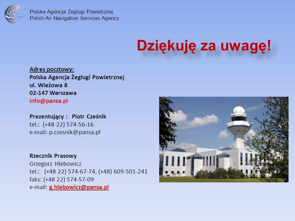 Dziękuję za uwagę! Adres pocztowy: Polska Agencja Żeglugi Powietrznej