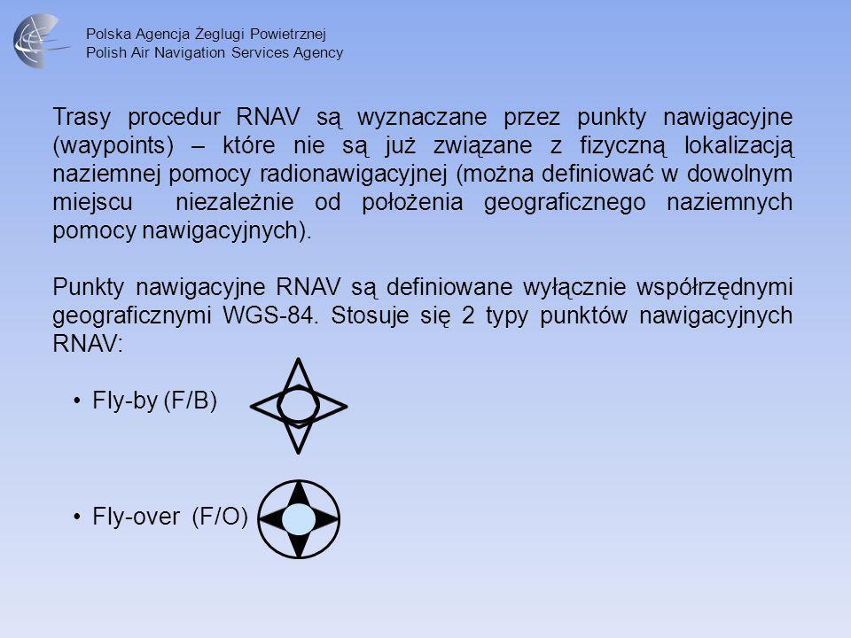 Trasy procedur RNAV są wyznaczane przez punkty nawigacyjne (waypoints) – które nie są już związane z fizyczną lokalizacją naziemnej pomocy radionawigacyjnej (można definiować w dowolnym miejscu niezależnie od położenia geograficznego naziemnych pomocy nawigacyjnych).