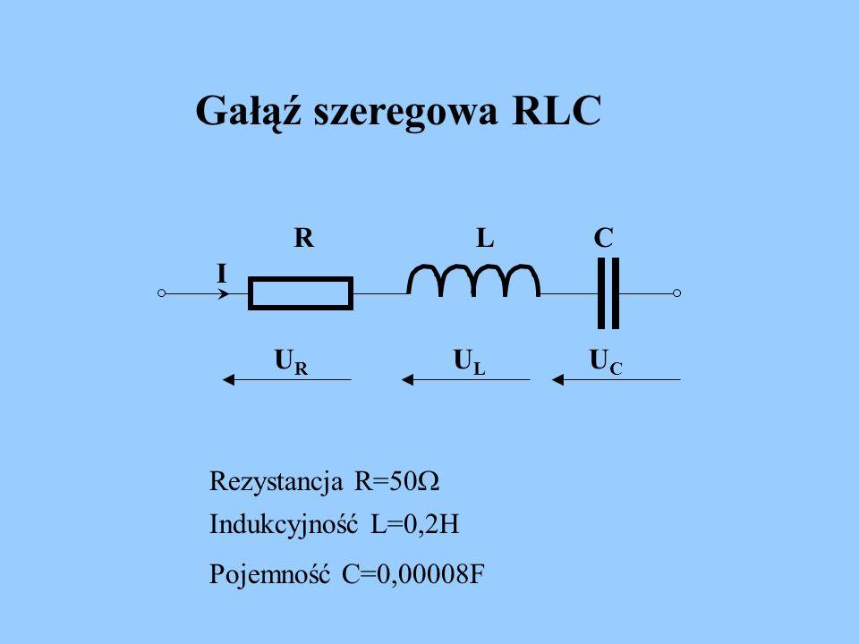 Gałąź szeregowa RLC R L C I UR UL UC Rezystancja R=50W