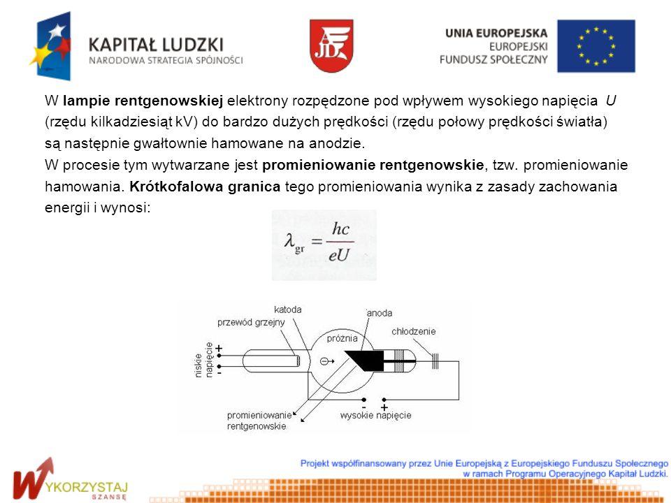W lampie rentgenowskiej elektrony rozpędzone pod wpływem wysokiego napięcia U