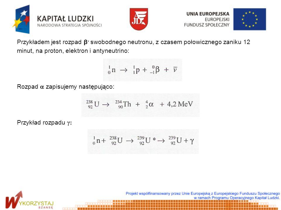 Przykładem jest rozpad β- swobodnego neutronu, z czasem połowicznego zaniku 12