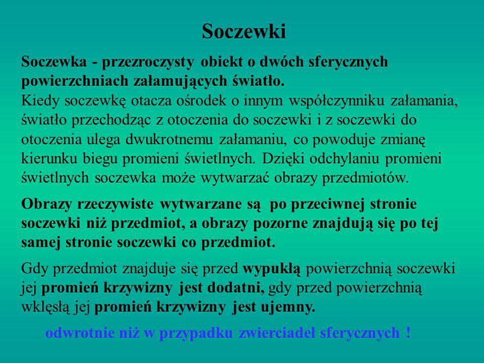 Soczewki Soczewka - przezroczysty obiekt o dwóch sferycznych powierzchniach załamujących światło.