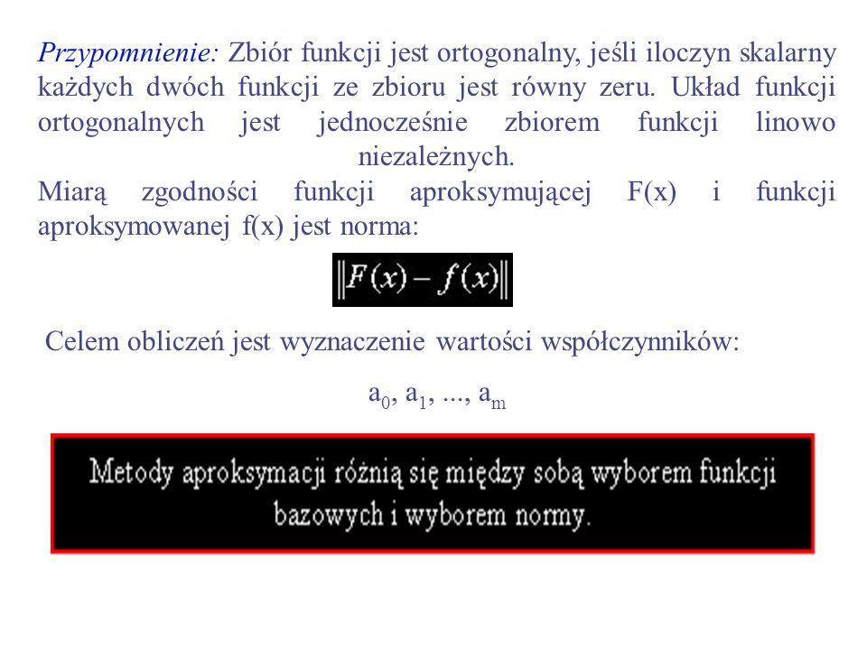 Przypomnienie: Zbiór funkcji jest ortogonalny, jeśli iloczyn skalarny każdych dwóch funkcji ze zbioru jest równy zeru. Układ funkcji ortogonalnych jest jednocześnie zbiorem funkcji linowo niezależnych. Miarą zgodności funkcji aproksymującej F(x) i funkcji aproksymowanej f(x) jest norma: