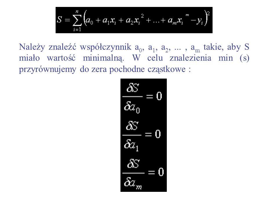 Należy znaleźć współczynnik a0, a1, a2,