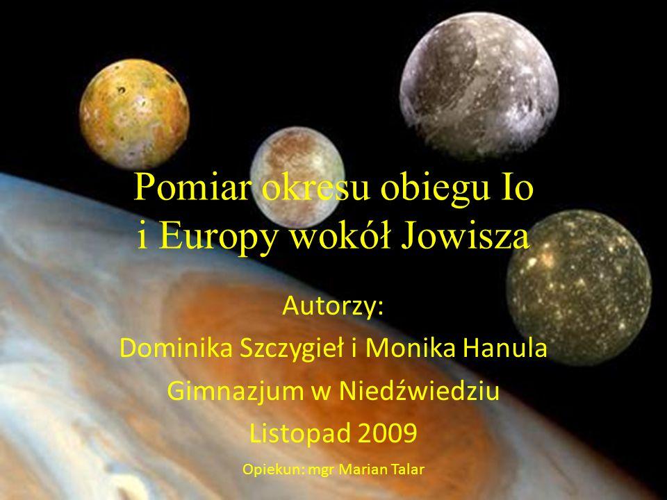 Pomiar okresu obiegu Io i Europy wokół Jowisza