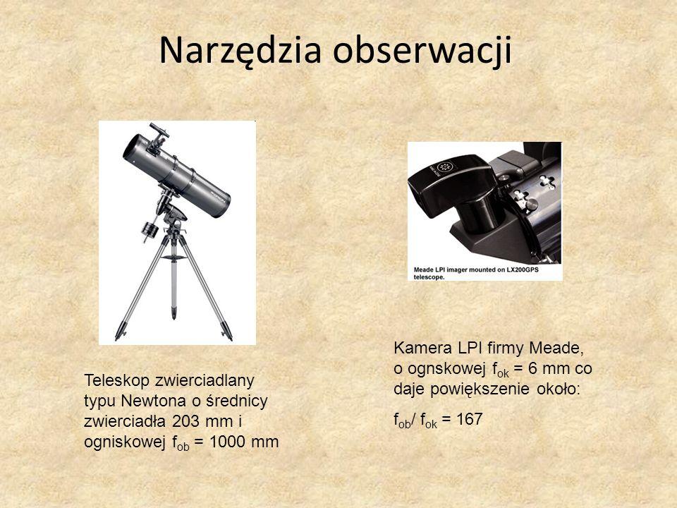 Narzędzia obserwacji Kamera LPI firmy Meade, o ognskowej fok = 6 mm co daje powiększenie około: fob/ fok = 167.