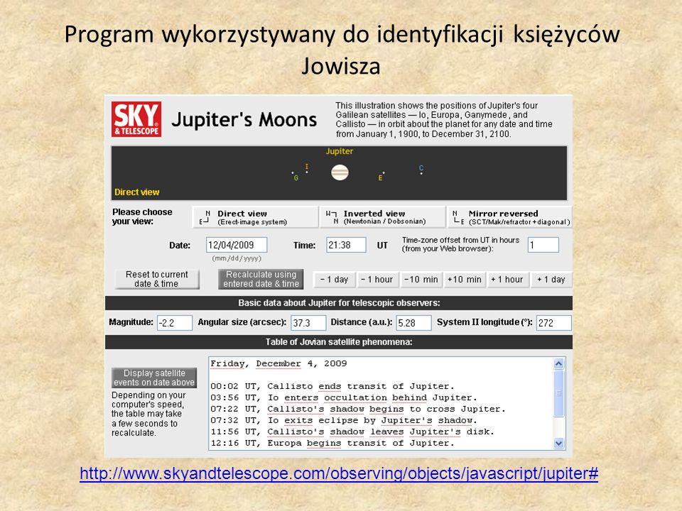 Program wykorzystywany do identyfikacji księżyców Jowisza