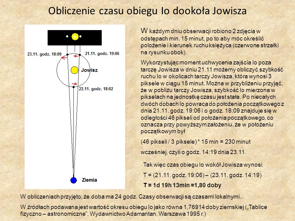 Obliczenie czasu obiegu Io dookoła Jowisza